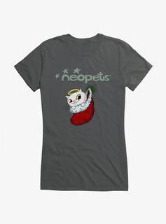 Christmas Angelpuss Girls T-Shirt - Charcoal