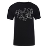 Trio Lineart Adult Short Sleeve T-Shirt in Black
