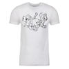 Trio Lineart Adult Short Sleeve T-Shirt in White